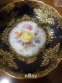 Meissen Cobalt Blue Demitasse Coffee Cup Saucer Antique 19th century Floral BIN