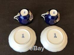 Meissen Demitasse Cup & Saucer Pair Fruit Cobalt Blue Gold Crossed Sword Antique