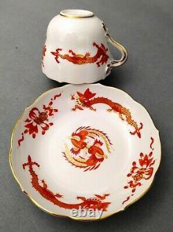 Meissen Demitasse Cup & Saucer Set red dragon 1st factory class