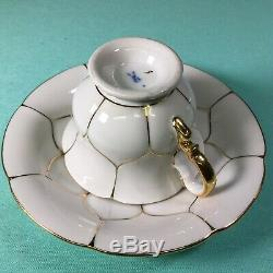 Meissen Demitasse Demi Cup And Saucer Gold On White
