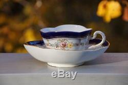 Meissen Demitasse Quatrefoil Cup & Saucer Cobalt Blue, Gold Trim, Small Flowers