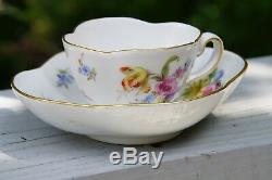 Meissen Demitasse Quatrefoil Cup & Saucer Set Flowers with Insects, Gold Trim