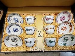 Meissen Dragon Court Demitasse Cup & Saucer 6 Sets original box