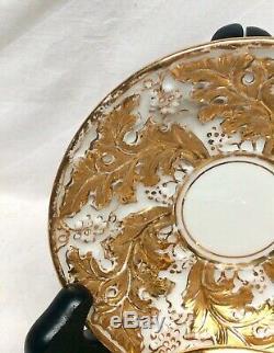 Meissen Gold Encrusted Oak Leaf Porcelain Demitasse Cup & Saucer