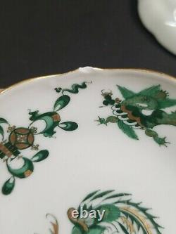 Meissen Green Ming Dragon Demitasse Cups & Saucers Double Crossed Swords (4)