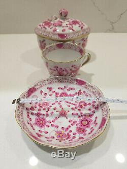 Meissen Indian Pink Oriental Flowers Amethyst Sugar Bowl, Demitasse Cup & Saucer