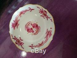Meissen Pink Dragon Demitasse Cup and Saucer, First Quality