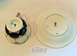 Meissen Porcelain Cobalt Blue Gold Encrusted HP Floral Demitasse Cup & Saucer