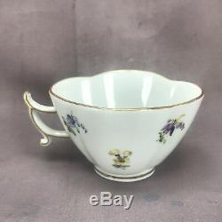 Meissen Quatrefoil Hand Painted Strewn Flowers Demitasse Cup & Saucer
