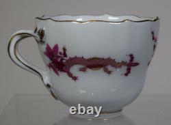 Meissen Rich Court Pink Dragon Demi Tasse Cup & Saucer