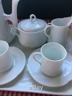 Mint Richard Ginori Iris Demitasse Cup and Saucer, Sugar pot, Creamer, Tray