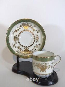 Minton Green & Raised Gold Demitasse Cup & Saucer, Tiffany & Co