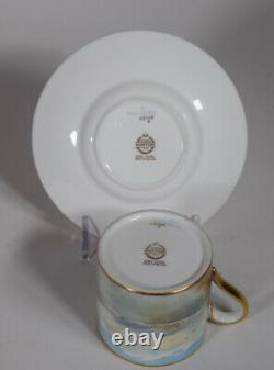Minton Hand Painted Artist Signed Demitasse Cup & Saucer