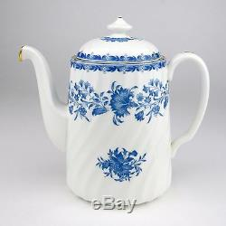 Minton Hardwicke Hall Blue and White Coffee Pot Demitasse Cup Saucer Fine China