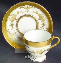 Minton Riverton Demitasse Footed Coffee Cups & Saucers Raised Gold Pattern k227