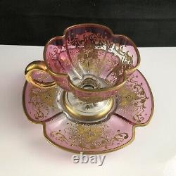 Moser Glass Bohemian Cranberry Enameled Quatrefoil Lobed Demitasse Cup Saucer