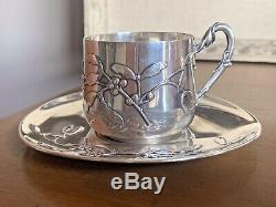 Murat MISTLETOE Sterling Silver French Nouveau Teacup Saucer Tea Demitasse Cup