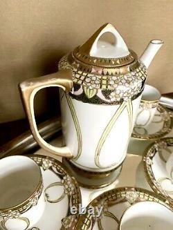 NIPPON Hand Painted White Porcelain Tea SET-Teapot 6 Demitasse Cups/Saucers