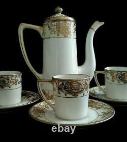 NORITAKE Mini Coffee Pot with Lid & 3 Flat Demitasse Cup & Saucer Set 16034 8 Pc