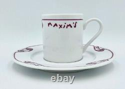 New Pair Maxim's De Paris Restaurant Demitasse Espresso Coffee Cup & Saucer