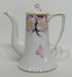 Noritake Azalea No. 19322 Mini Demitasse Coffee Pot, 4 Cup & Saucers Red Japan