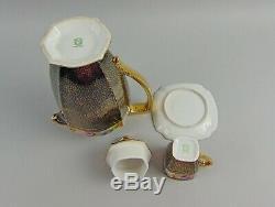 Noritake China Black, Gold&Floral Demitasse Set Coffee/Tea Pot+6 Cup&Saucer Sets