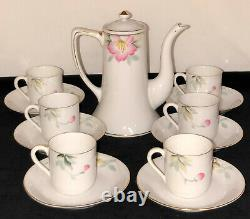 NoritakeAZALEA14 PC MINI DEMITASSE COFFEE POT & CUPS/SAUCERS SETRED MARKHTF