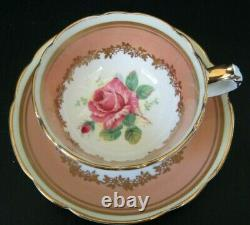 PARAGON Antique Demitasse Set with HUGE Pink Floating Cabbage Rose CRAZING on cup