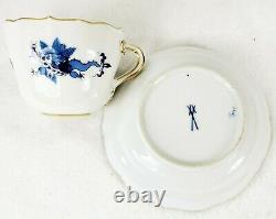 Pair Antique Meissen Demitasse Cup & Saucers Cobalt Blue Crossed Swords