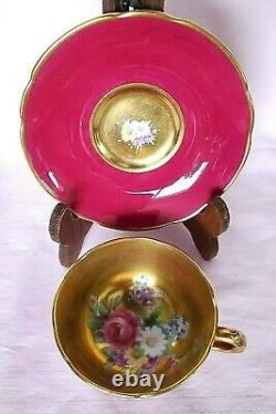 Paragon Demitasse Floral Heavy Gold Old Tea Cup Saucer Double Warrent England