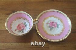 Paragon Demitasse Miniature Large Cabbage Rose Gold Teacup Tea cup Saucer Pink