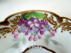Paris Cup Saucer Demitasse Bourdoir Bloch Dresden Raised Gilded Scrolls Flowers