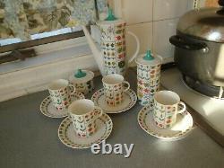Piemonte Rosenthal Emilio Pucci Coffee Pot Demitasse Cups Saucers Sugar Condimnt