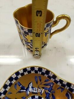 Quatrefoil Coalport Cobalt Blue Gilt Bluebird japonisme Demitasse Cup and Saucer