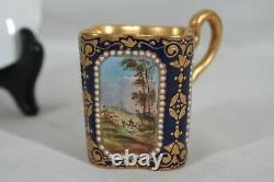 RARE ANTIQUE 1880s COALPORT SPAULDING & CO HANDPAINTED DEMITASSE CUP & SAUCER #1