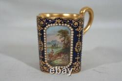 RARE ANTIQUE 1880s COALPORT SPAULDING & CO HANDPAINTED DEMITASSE CUP & SAUCER #2