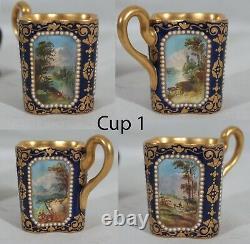 RARE! ANTIQUE 1880s COALPORT SPAULDING & CO SET OF 4 DEMITASSE CUPS & SAUCERS