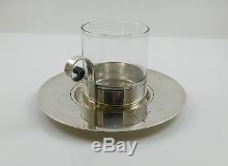 RARE Tiffany & Co Sterling Silver Set Demitasse Cups Saucers Johnson Estate 1940