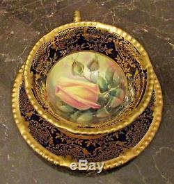 RARE! Vintage Hand Painted Paragon Demi-Tasse Cup & Saucer Set Rose Buds