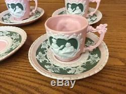 RARE! Vintage WEDGWOOD PINK JASPERWARE Demitasse Cup & Saucer (3 Sets)
