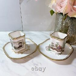 RICHARD GINORI China FIESOLE Patter Demitasse Espresso Square CUP SAUCER 2 Sets