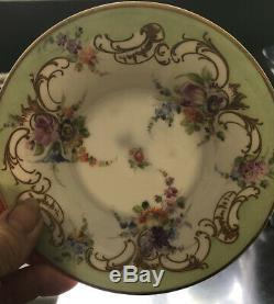 RICHARD KLEMM DRESDEN Demitasse Cup and Saucer GOLD Figural Handle Color Flowers
