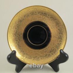 ROSENTHAL c1926 Cobalt and Heavy Gold Encrusted Porcelain Demitasse Cup & Saucer