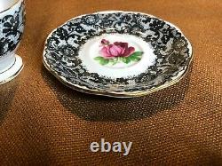 ROYAL ALBERT Demitasse Tea Cup & Saucer B / SENORITA Pattern BLACK LACE ROSE