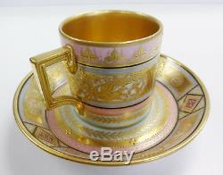 ROYAL VIENNA CUP & SAUCER Porcelain Demitasse Wagner RARE Gold #2 BEAUTIFUL