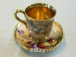 ROYAL WORCESTER Hand Painted Fruit Gilded Demitasse Cup and Saucer