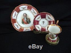 RS Prussia related tea set 4 plates cups saucers Napoleon portraits demitasse