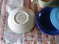 Radioactive Red Stick Handle Demitasse Pot & 6 Original Colors Cups & Saucers