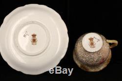 Rare Antique 1880 Doulton Burslem George White Floral Gold HPCabinet Demitasse C