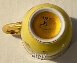 Rare Antique Dresden Saxony Wilhelm Koch Demi / Demitasse Cup & Saucer Set